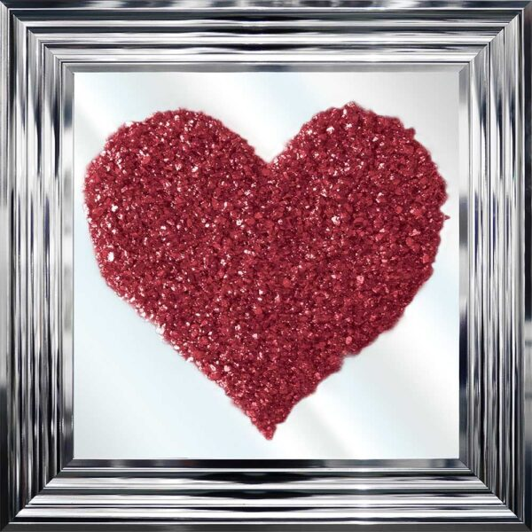 Red Glitter Heart Cluster Mirror Picture