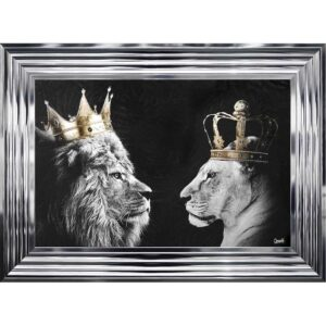 Black And White Lion And Lioness Framed Picture