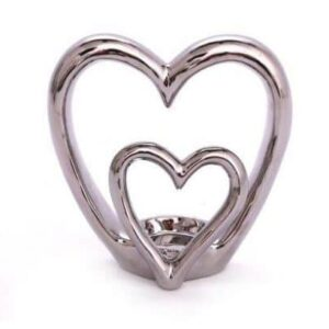 Double Heart Silver Tea Light Holder