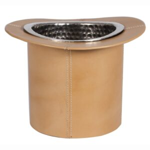 Tan Leather And Silver Top Hat Wine Cooler