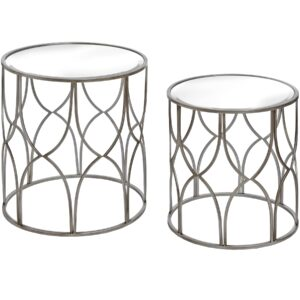 Set Of Two Lattice Detail Silver Side Tables