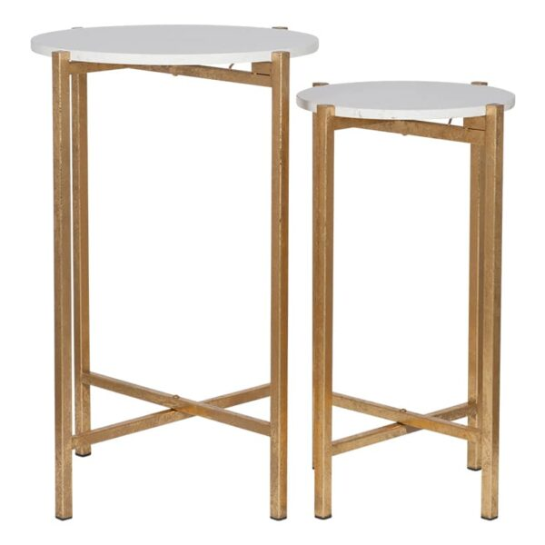 Antique Gold Metal & Marble Set of 2 Side Tables