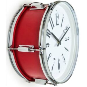 Drum Style Metal Silver And Red Wall Clock 17″
