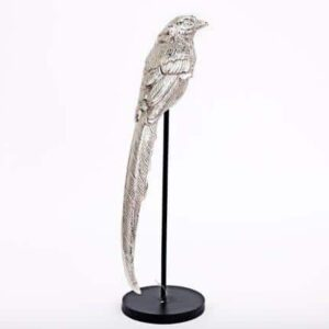 Large Silver Bird on Wooden Base