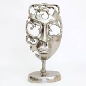 Decorative Chrome Face Mask On Stand Ornament