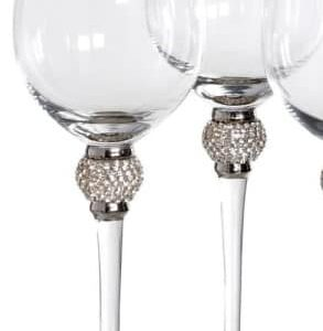 Pair of White Wine Glasses with Diamante Ball