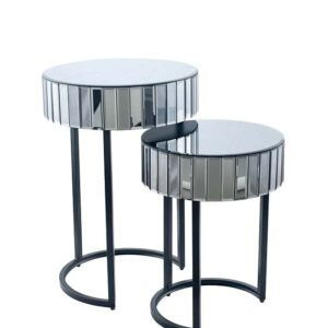 Smoked Grey Mirrored Side Tables Set of 2