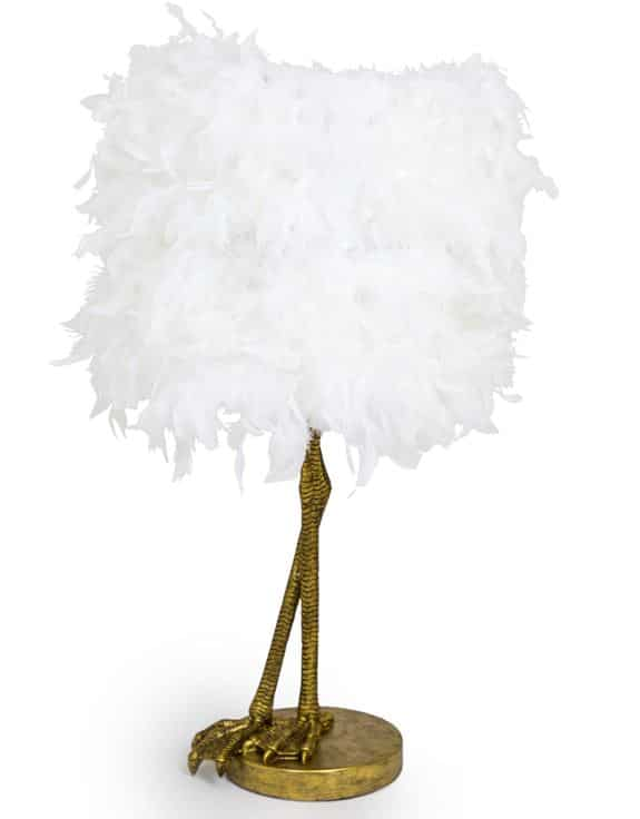 Gold Large Bird Leg Lamp With Feather Shade