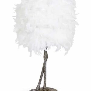 Silver Bird Leg Lamp With Feather Shade