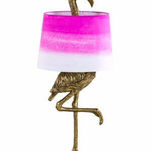 Gold Flamingo Table Lamp with Pink and White Shade