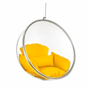 Ceiling Hanging Bubble Chair with Orange Cushion