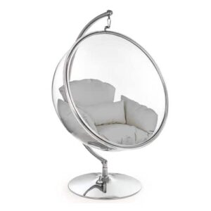 Retro Hanging Bubble Chair On Steel Base with Grey Cushion