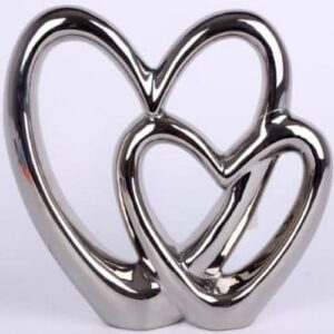 Double Heart Silver Ornament