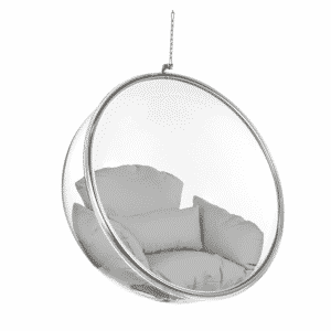 Ceiling Hanging Bubble Chair with Grey cushion