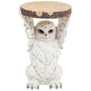 Owl Side Table Holding Trunk Slice
