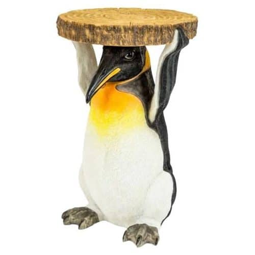 Penguin Side Table Holding Trunk Slice