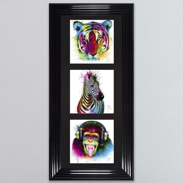 Tiger Zebra DJ Monkey Vertical Framed Picture by Patrice Murciano