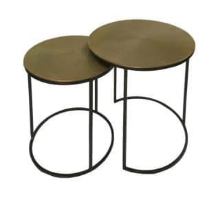 Set of 2 Black and Gold Round Nesting Tables