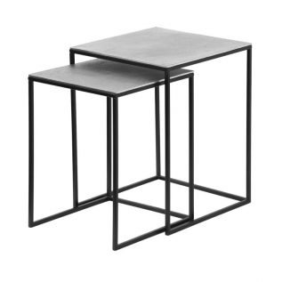 Set of 2 Black and Nickel Nesting Tables