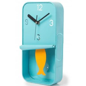 Blue Metal Tin with Swinging Sardine Clock.
