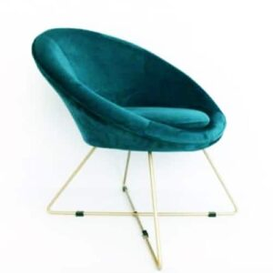 Teal And Gold Cocktail Round Velvet Chair