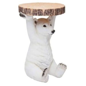 Polar Bear Side Table Holding Trunk Slice